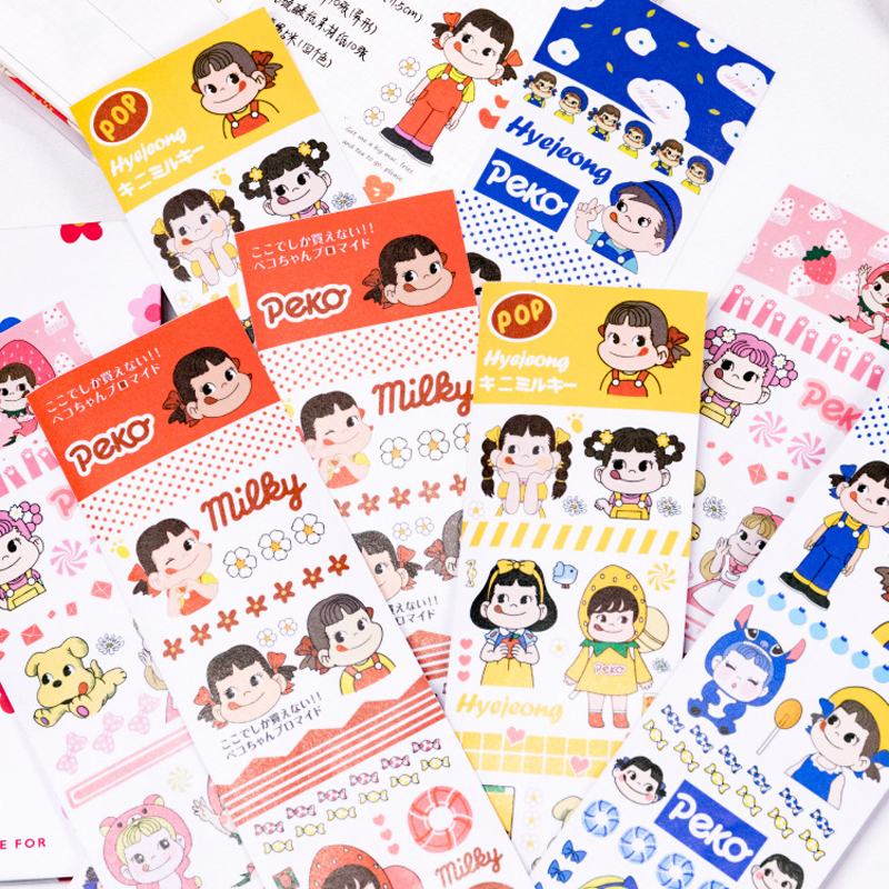 DEHMJJ Color Cartoon Character Washi Masking Tape Release Paper Stickers Scrapbooking Stationery Decorative Cute Girl Tape