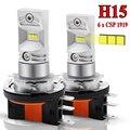 2 шт. H15 Светодиодный светильник тумана 30 Вт CSP 1919 SMD светодиодный светильник тумана высокого Мощность светодиодный чип 6000K 6SMD для авто внешни...