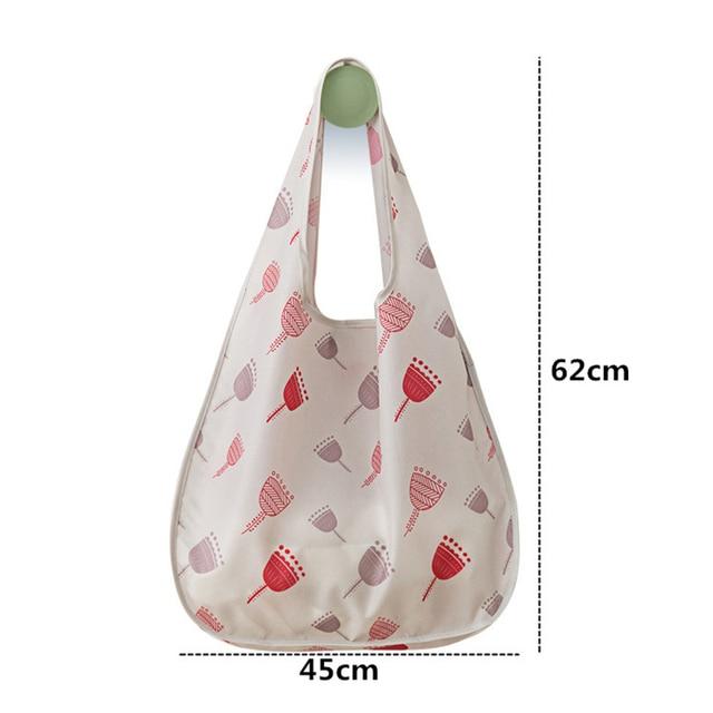 PURDORED 1 Pc Flower Shopping Bag Fordable Women Shopping Tote Bag Portable Waterproof Reusable Cloth Eco Grocery Bag Handbags 6