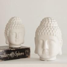 White Matte Ceramic Buddha Head Statue India Religious Buddha Head Sculpture Thailand Buddha Figurines Home Decor Zen Gift hanif kureishi äärelinna buddha