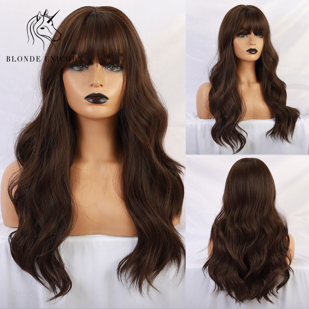 Blonde Unicorn Synthetic Natural Wave Long Hair Dark Brown Wig Wigh Bangs Heat Resistant Fiber Wigs For White Black Women