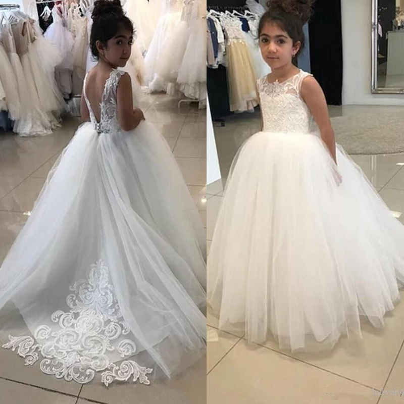 Flower Girl Dresses For Weddings Lace Appliques Sleeveless Sweep Train Girls Pageant Dress For Wedding Prom Kid Communion Gowns
