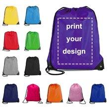 Drawstring Bag Custom Logo Portable Lightweight Backpack Drawstring Bag Travel Sport Outdoor Hiking Storage Bag Oxford Cloth Bag