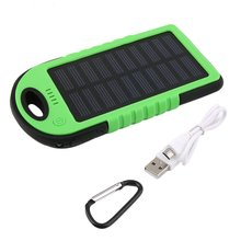 5000mAh Solar Emergency Power Bank Battery with LED Torch Portable Phone Battery Solar Waterproof External Battery for Mobile mfi d8 1206 5000mah li polymer battery power bank w led indicator for iphone more white