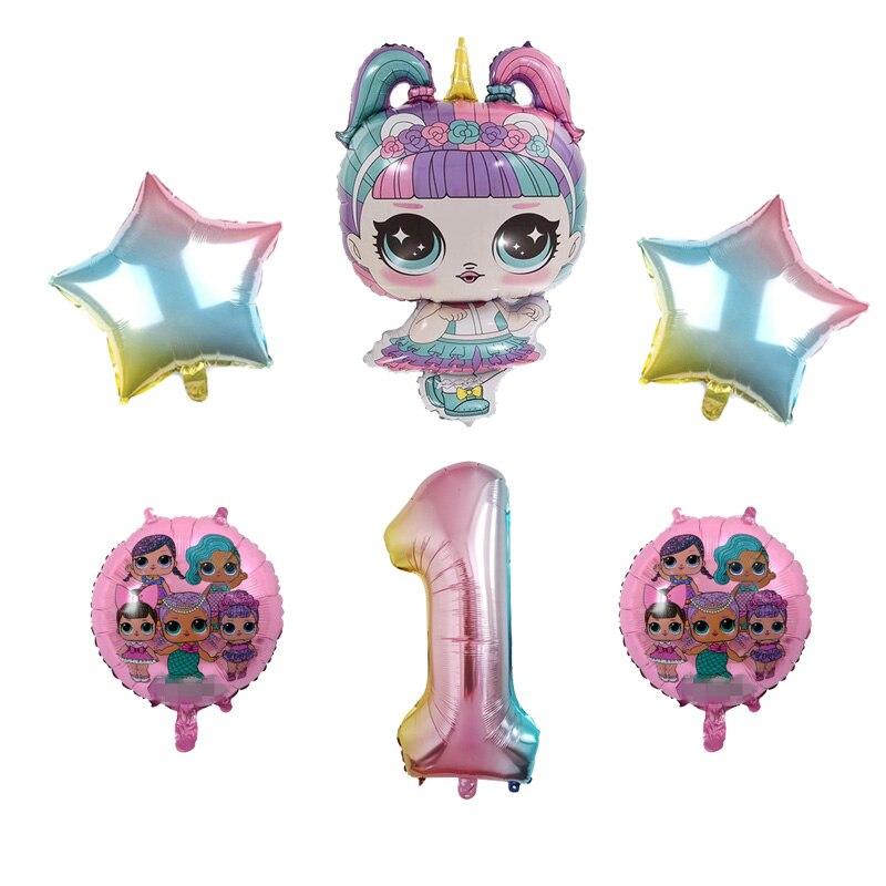 6 peças do l. o. l. Surpresa! Figura de brinquedos lol para decoração, balões de folha de alumínio para decoração de festas, aniversário para crianças, presente de aniversário