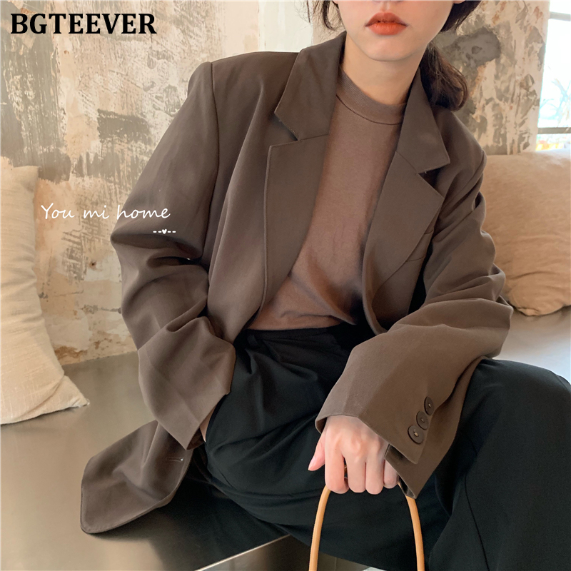 BGTEEVER Vintage Classic Women Suit Jackets Single-breasted Notched Collar Women Blazer 2020 Spring Loose Outwear Blaser Femme