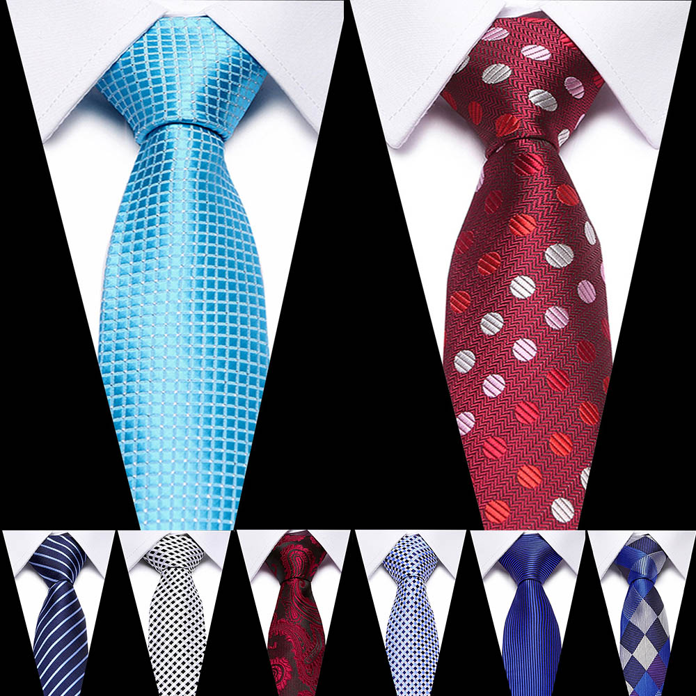 Men's 7.5 Cm 100% Silk Ties Stripe  Jacquard Blue And Red Floral  Necktie Wedding Party Accessories