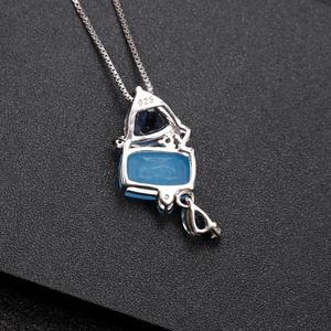 Image 3 - GEMS BALLET Natural Aqua blue Calcedony Gemstone Fine Jewelry 925 Sterling Silver Handmade Candy Pendant Necklace For Women