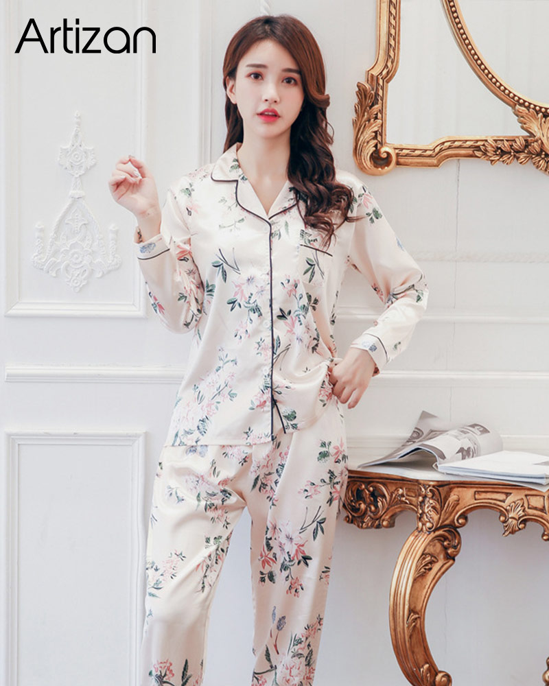 H12efe295d60645e59c11f7e8008da435t - Satin Silk Pajamas for Women's Set pyjamas Button Pigiama Donna pjs Winter Mujer Pijama Sleepwear Nightwear Pizama Damska 2Pcs
