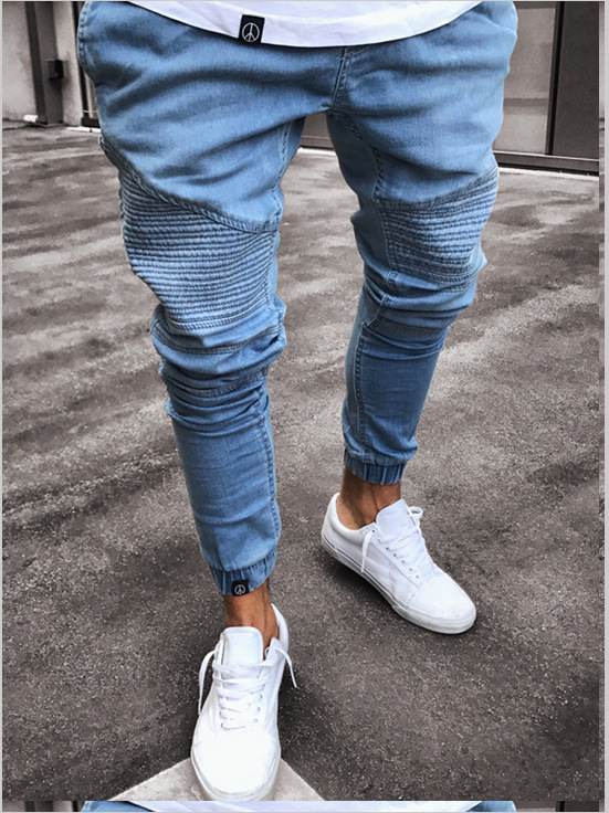 2019 Europe And America New Style Fashion With Holes Drum Have Rubber Band Foot Mouth Skinny Elasticity Jeans Men's Trousers