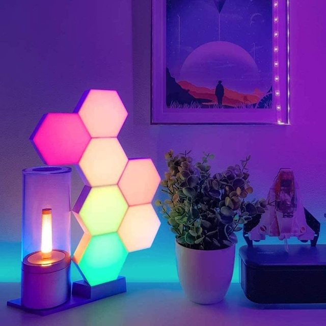 New LED Honeycomb Lights Quantum Hexagonal Light USB Touch Remote Control 7 Color Discoloration for Bedroom