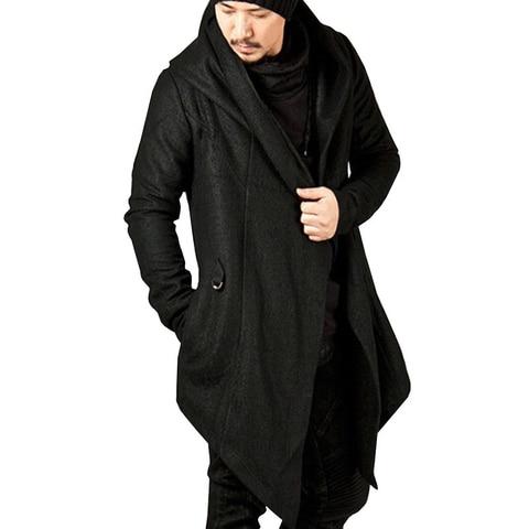 Men Coat Solid Color Hooded Tops Loose Jacket Long Sleeve Irregular Hem Pocket Autumn Winter Casual Coat Islamabad