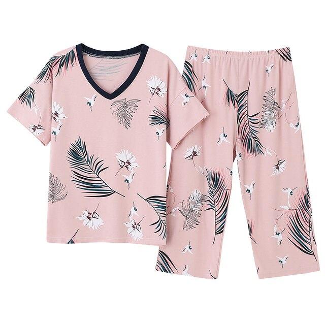 Conjunto de pijamas femininos de tamanho grande, camisola de manga curta macia, estampa de animais de pássaros, pijamas femininas, verão M 4XL