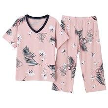كبيرة الحجم M 4XL النساء منامة مجموعات لينة نوم الصيف قصيرة الأكمام منامة الحيوان الطيور طباعة ملابس خاصة الإناث منامة موهير