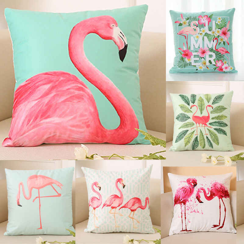 40X40 Cm Musim Panas Flamingo Bantal Cover Melempar Bantal Case Dekorasi Rumah Sofa Bed Bantal Bantal Bantal Cover Fashion