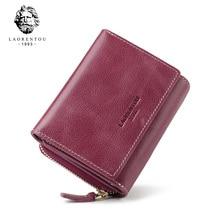 LAORENTOU Echtes Leder Brieftaschen Frauen Karte Halter Weibliche Beiläufige Kurze Geldbörse Damen Große Kapazität Geld Tasche Kleine Brieftasche