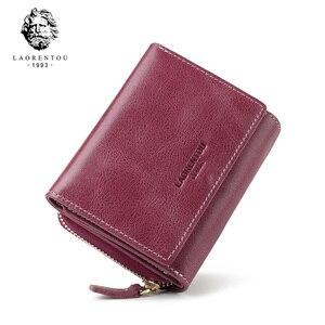 Image 1 - LAORENTOU جلد طبيعي محافظ المرأة حامل بطاقة الإناث عادية قصيرة محفظة نسائية للعملات المعدنية السيدات سعة كبيرة حقيبة المال محفظة صغيرة