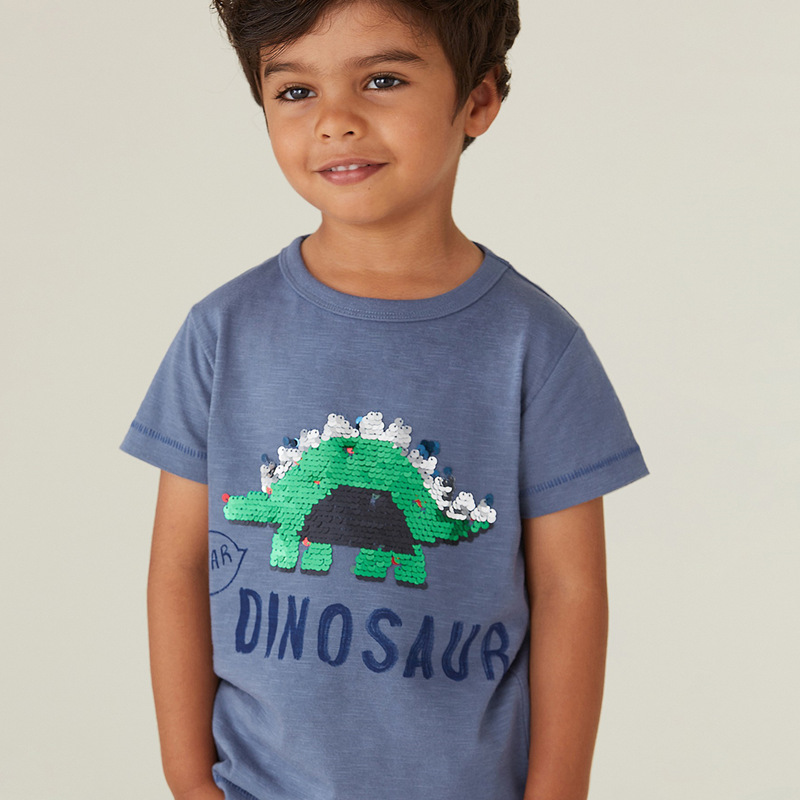 SAILEROAD Boys t-shirts Green Dinosaur Face-changing Red Dinosaur Paillettes Shirts for Kids Clothes Sequins T Shirts Children 1