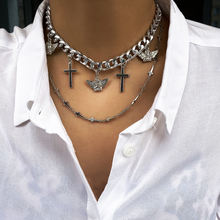 Trendy hip hop chunky silver color femme chain chokers punk