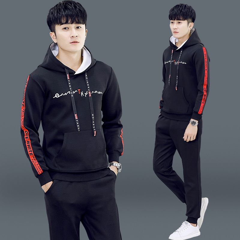 Men's Hooded Teenager Korean-style Trend Casual Sports Students Couples Loose-Fit Two-Piece Autumn Hoodie