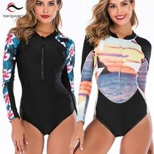 2019 New Sexy Black Print Floral Surf Women Swimwear Plus size Push up Swimsuit Long sleeves Female Bathing suit bodysuit cheap