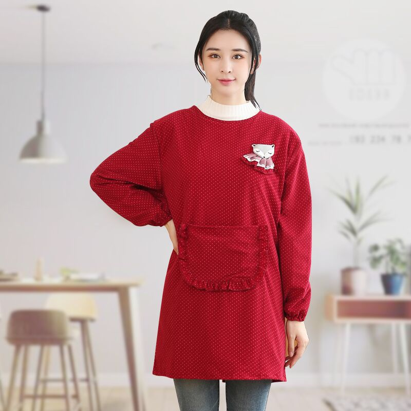 Pure Cotton Overclothes Women's Adult Autumn And Winter Long Style Kitchen Household Cooking Apron Long Sleeve Adult Work Clothe|Oversleeves| |  - title=
