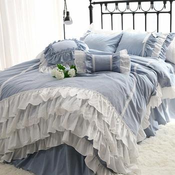 Julliette Dream Super sweet cake layers Queen bedding set Ruffle duvet cover Luxury bedding lace bed sheet bowknot bedspread