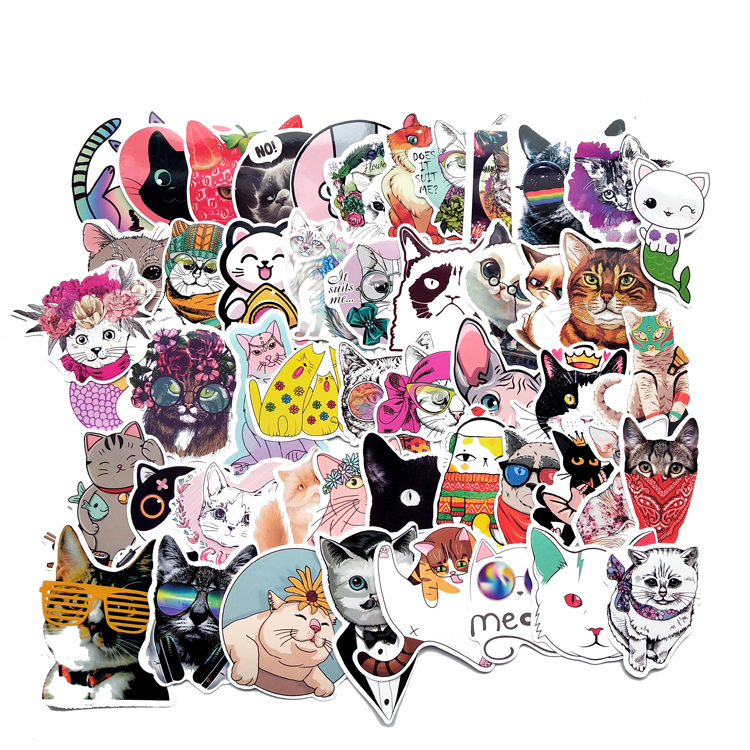 50pcs Kitty My Cat Decorative Stickers Adhesive Stickers DIY Decoration Diary Japanese Stationery Stickers Children Gift