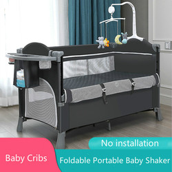 Foldable Portable Crib Multifunctional Newborn Baby Bed No Installation Height Adjustable with Wheels Mosquito Net Baby Shaker