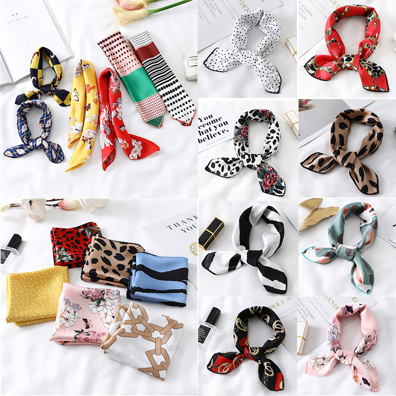 50cm Square Silk Scarf Head Neck Foulard Femme Bandana Print Fashion Women's Hair Tie Band Wrap Handkerchief Sjaal