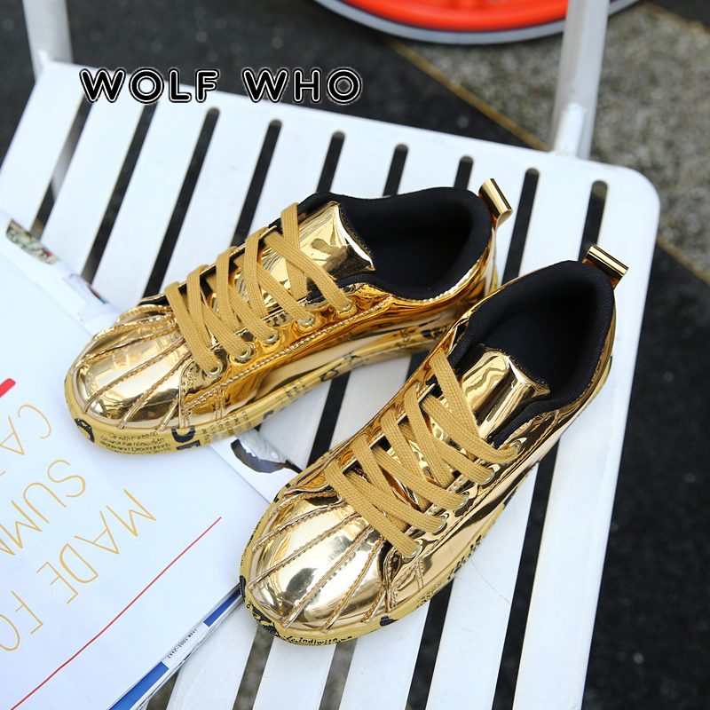 WOLF WHO 2019 Popular Golden Glossy Men Party Casual Shoes Unisex Hip Hop Dance Shoes Male Big Size Shoes Tenis Masculino X-056