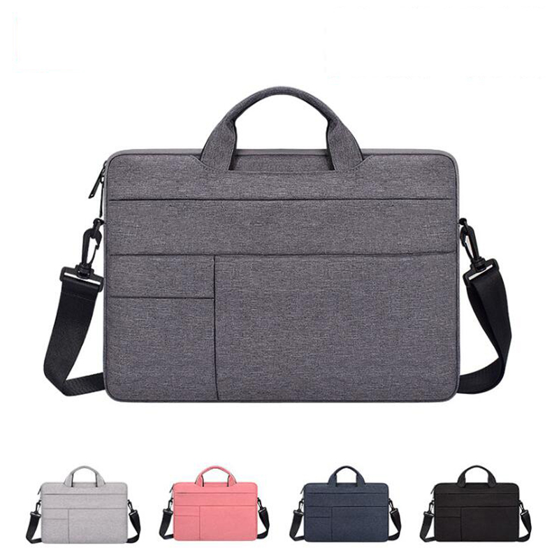 Waterproof Simple Men Bag Business Nylon Computer Handbags Portable Zipper Shoulder Laptop Bag Men Shoulder Laptop Bag Black
