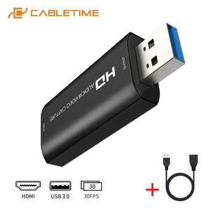 CABLETIME Video HDMI Capture Card USB 3.0 HD 1080P Audio&Video Recorder for Switch PS4 Live Streaming Capture Card N415