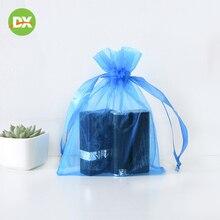 10pcs Blue Mesh Bundle Pocket Cosmetic Sample Dustproof Storage Drawstring Environmentally Friendly Gift Jewelry Bag Beauty Kit