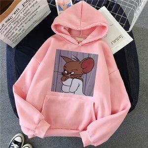 Harajuku Hoodies for Girls Cat Mouse White&pink Hooded Tops Women's Sweatshirt Long-sleeved Winter Tops Women Hoodies Kawaii