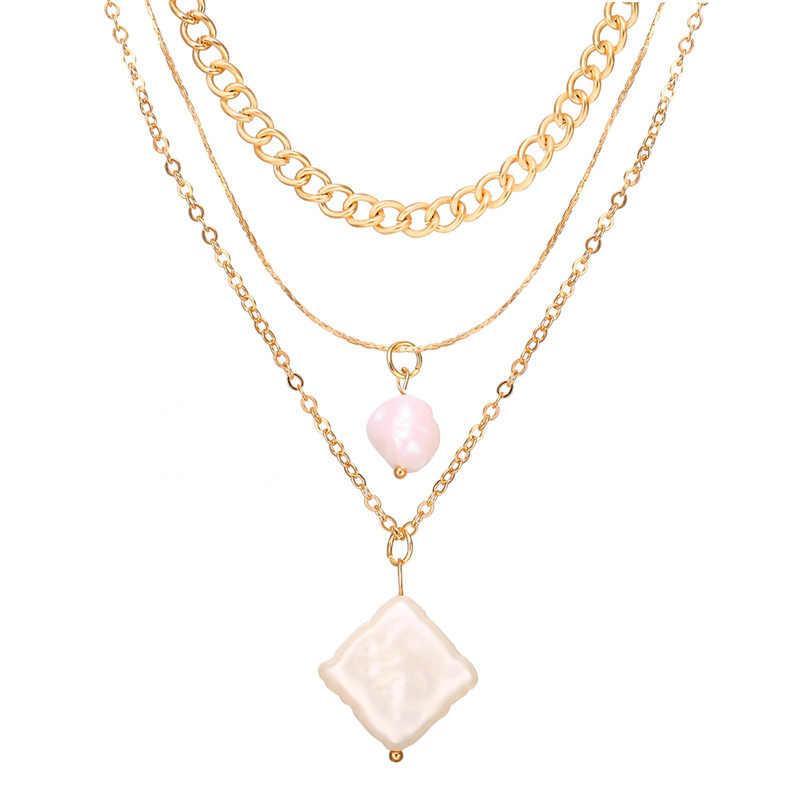 2019 lune Eye bohème géométrique pendentif collier mode perle vague collier ras du cou femmes vacances plage déclaration bijoux