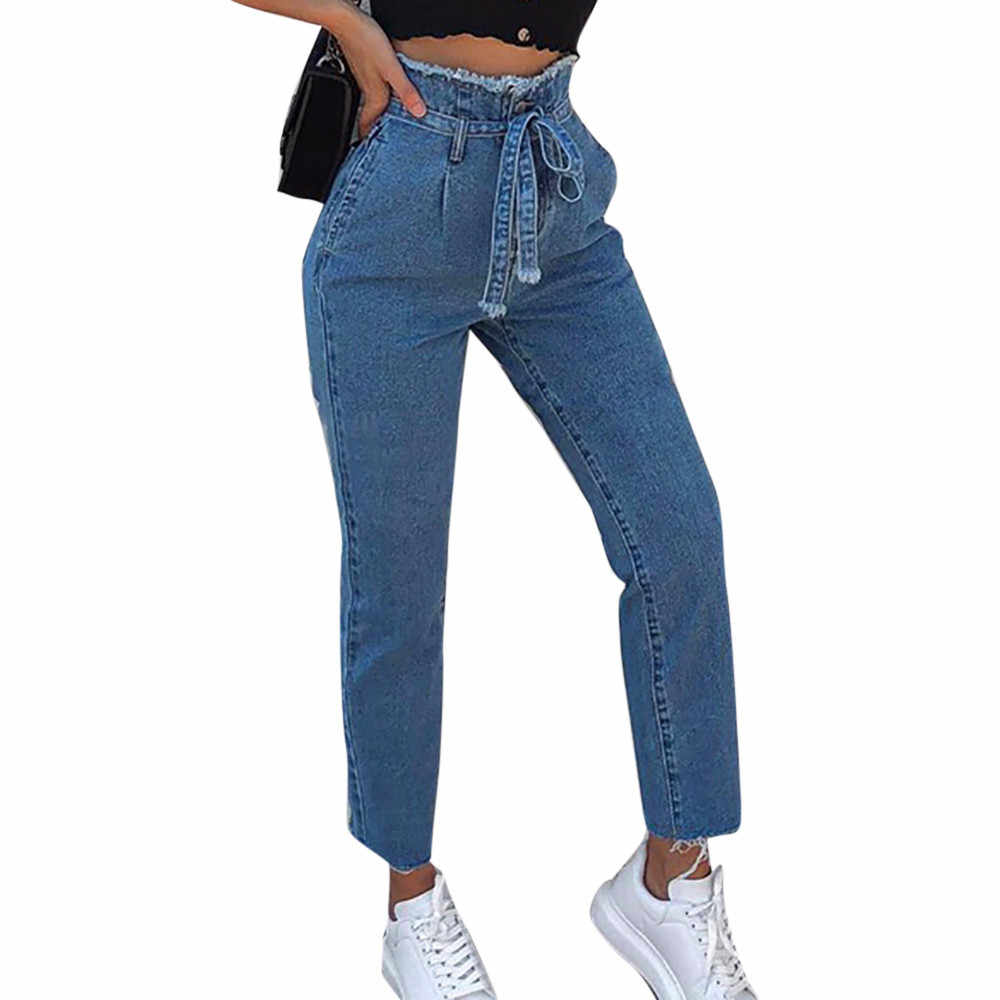 Women's Jeans New High Waisted Trimmings Slim Denim Skinny Jeans Belt Trousers Autumn Winter Fashion Casual Pants ropa mujer #M