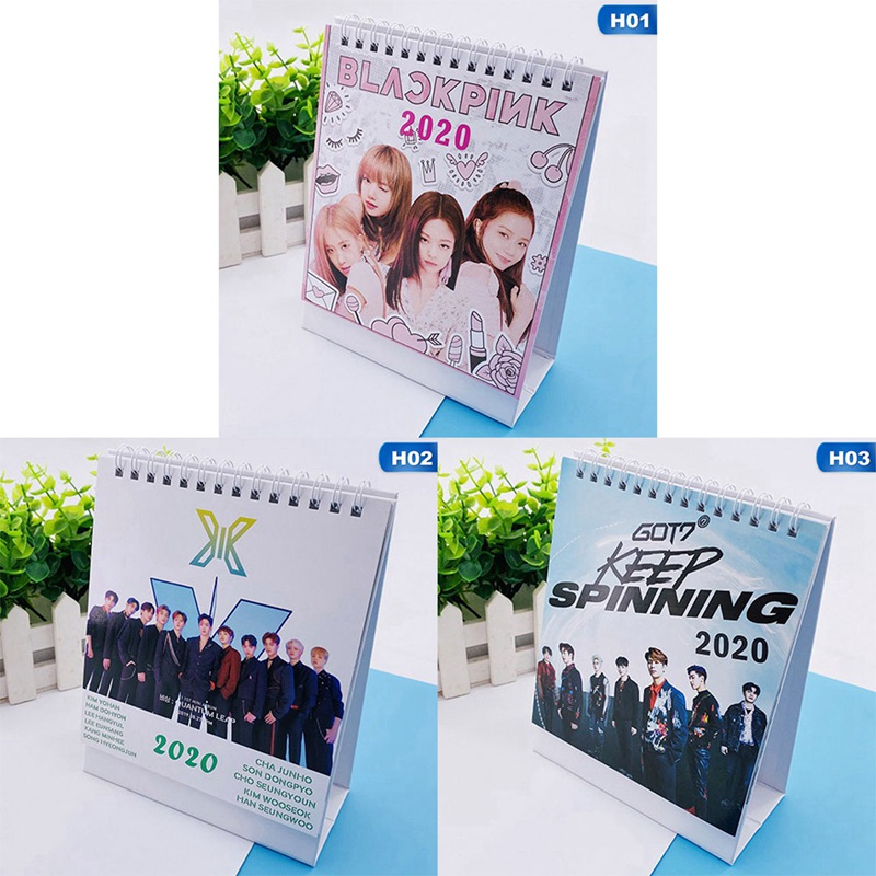 Kpop Album X1 GOT7 BLACKPINK 2020 Year Desktop Paper Calendar Dual Daily Scheduler Table Planner Desk Calendar 18*13.5cm