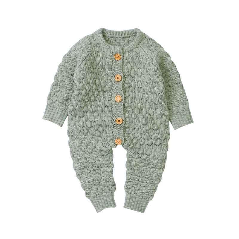 ฤดูใบไม้ร่วงทารก Romper ทารก Solid Rompers ถัก Jumpsuits เด็กทารกแรกเกิดเด็กทารก Suspender