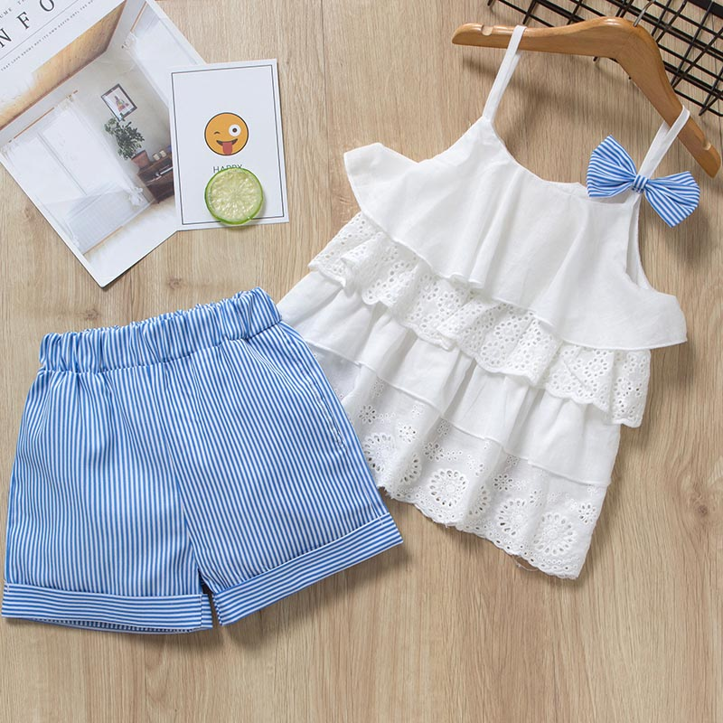 Menoea Girls Clothing Sets 2019 New Style Summer Children Clothes Cute  Dots Lace + Bow Short Pants 2pc Kids Clothes Sets