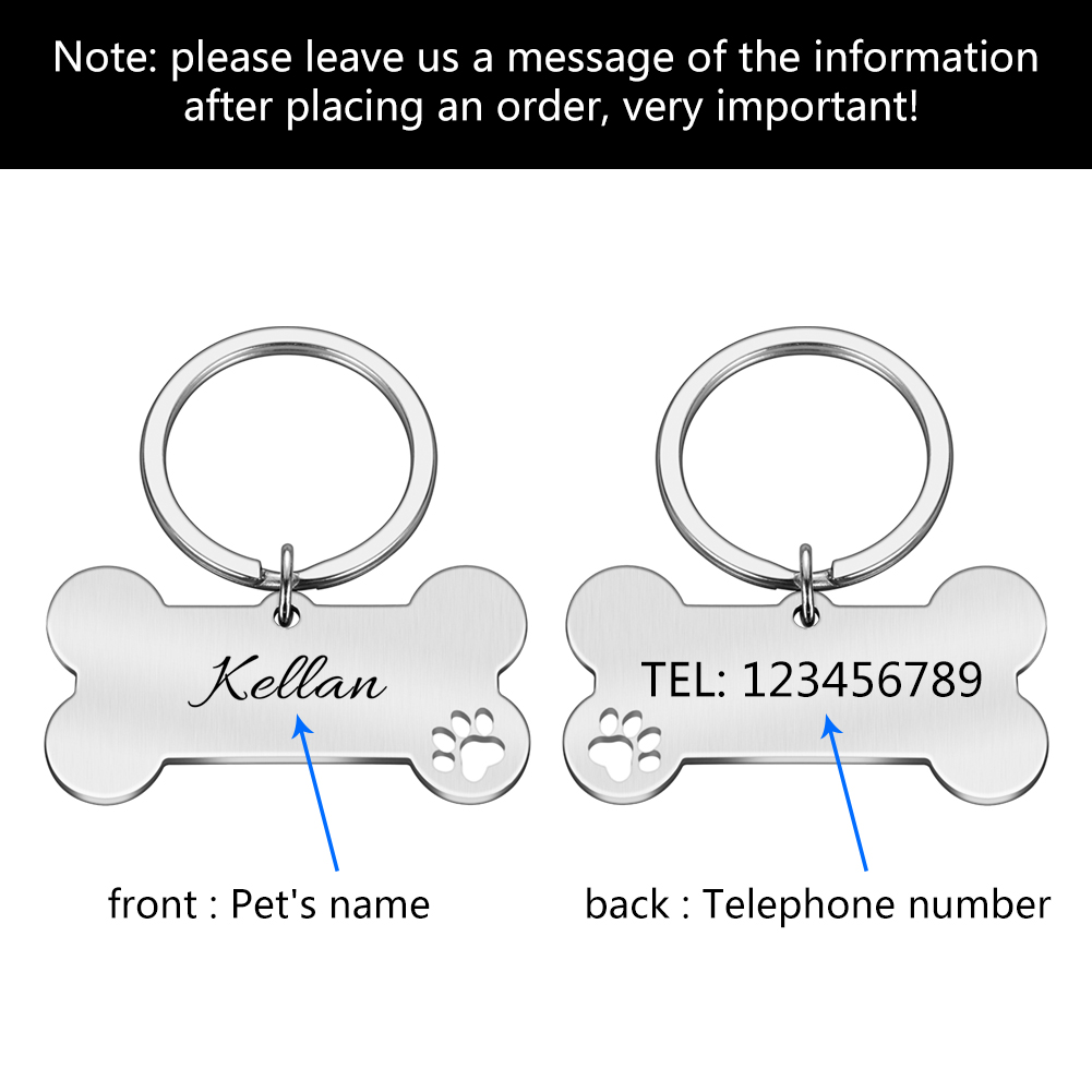 Personalized Pet ID Tag Keychain Engraved Pet ID Name for Cat Puppy Dog Collar Tag Pendant Keyring Bone Pet Accessories