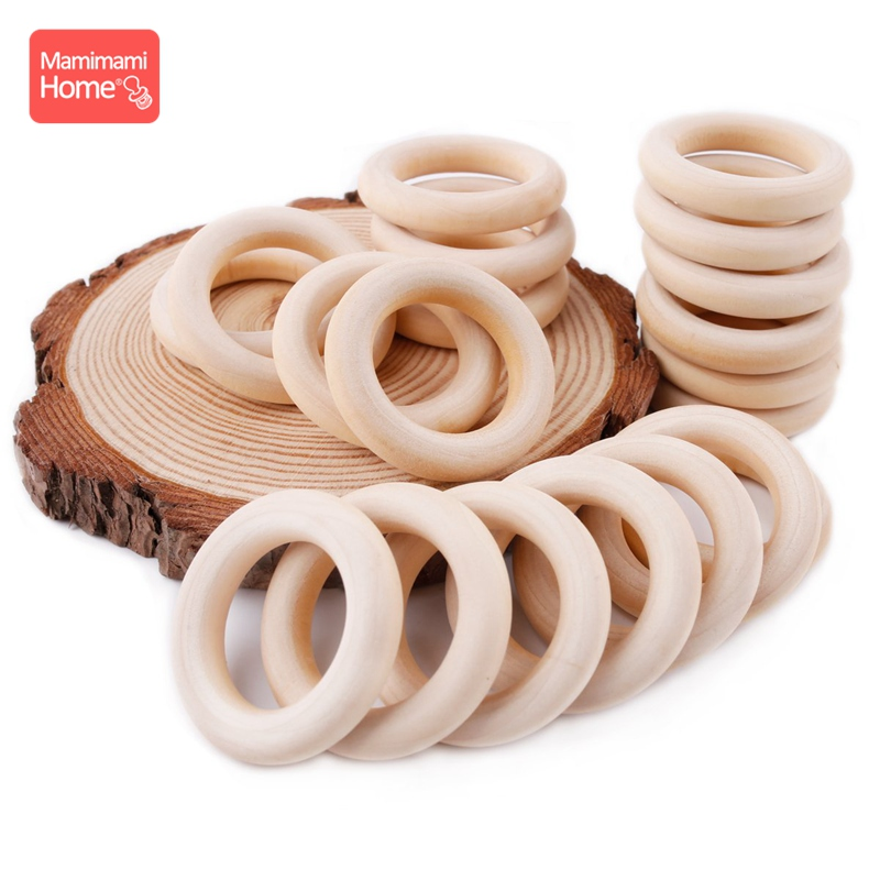 Bite Bites 100pcs 25mm-70mm Wood Teething Wooden Ring DIY Crafts Baby Bites Toys Nurse Gifts Baby Teether Wooden Blank