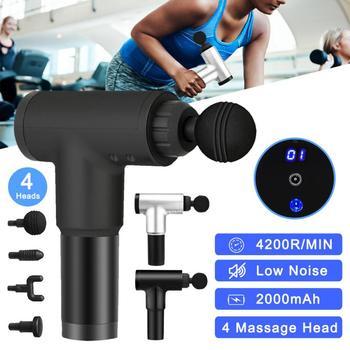 4200RPM LCD Display Massage Gun Percussion Massager Muscle Vibrating 4 Heads Muscle Massage Gun Deep Tissue Massager