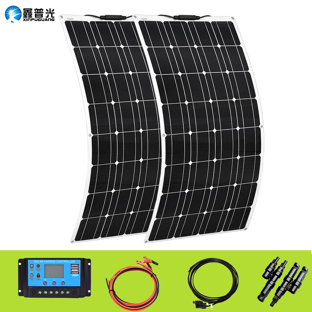 XINPUGUANG 200w <font><b>Solar</b></font> <font><b>panel</b></font> system 2X 100W Flexible solarpanel <font><b>100</b></font> <font><b>w</b></font> <font><b>12</b></font> volt 24 <font><b>v</b></font> Controller Photovoltaic wholesale pricing image