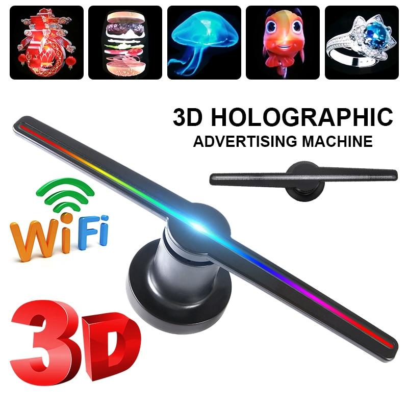 3D WIFI hologramme projecteur lumière publicité affichage LED holographique imagerie lampe à distance LED 3d affichage publicité logo lumière