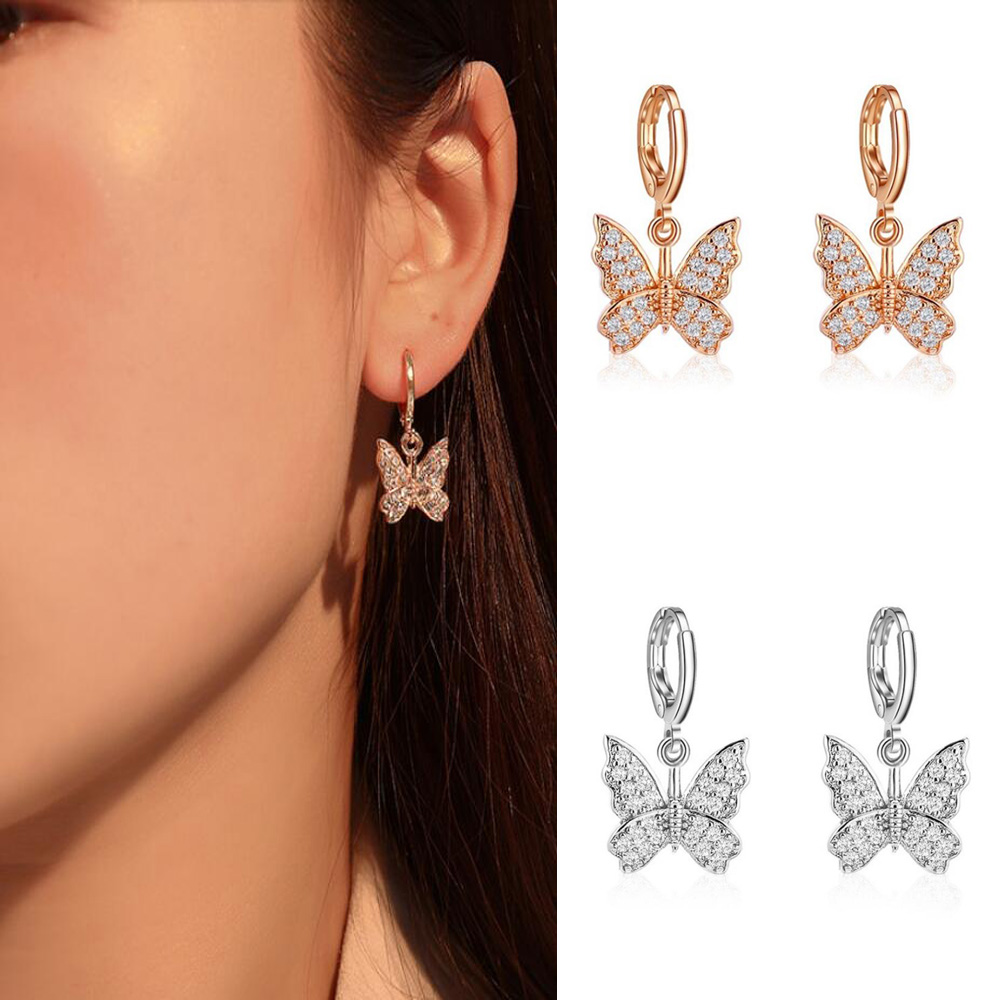 2020 New women's earrings fashion zircon butterfly danglee earrings for women animal sweet colorful stud earrings girls jewelry