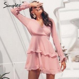 Image 3 - Женское летнее плиссированное платье Simplee, элегантное шифоновое платье с длинным рукавом, повседневное белое платье с v образным вырезом и оборками на лето, 2019