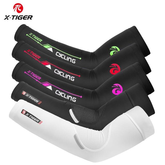X-TIGER protetor solar ciclismo braço aquecedores de gelo tecido secagem rápida ciclismo braço mangas ao ar livre esportes cotovelo almofada correndo braço cobre 1