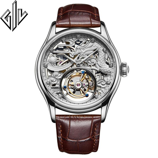 Real Tourbillon GIV Mechanical Hand Wind Men Watch Dragon Dial Top Brand Luxury Waterproof Skeleton Sapphire Montre Homme