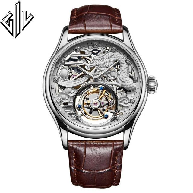 Real Tourbillon GIV Mechanical Hand Wind Men Watch Dragon Dial Top Brand Luxury Waterproof Skeleton Sapphire Montre Homme
